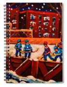 Snow Falling On The Hockey Rink Spiral Notebook