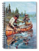 Two Fishermen In Canoe Spiral Notebook