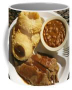 Brisket, Beans, & Rings At Famous Sonny Coffee Mug by Richard Nowitz