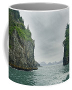 Monoliths In Aialik Cape On A Foggy Coffee Mug by James Forte