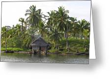 Isla Tigre - Hut Over Water And Palm Trees Greeting Card