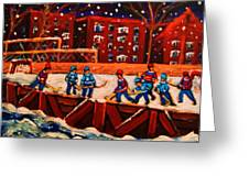 Snow Falling On The Hockey Rink Greeting Card