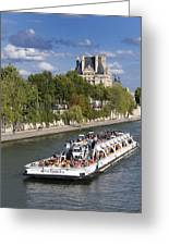 Sightseeing Boat On River Seine To Louvre Museum. Paris Greeting Card by Bernard Jaubert