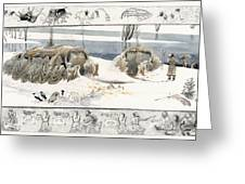A Painting Depicts Ice Age People Greeting Card