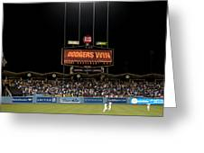 Dodgers Win Greeting Card by Malania Hammer