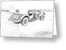Drawing The Antique Car Greeting Card