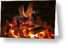 Fireplace Flames Greeting Card by Francisco Leitao