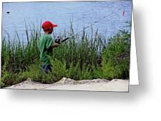 Fishing At Hickory Mound Greeting Card