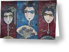 Geisha Love Triptych Greeting Card