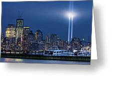 Ground Zero Tribute Lights And The Freedom Tower Greeting Card