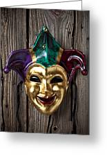Jester Mask Hanging On Wooden Wall Greeting Card
