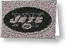 New York Jets Bottle Cap Mosaic Greeting Card