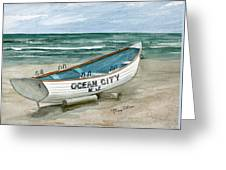 Ocean City Lifeguard Boat Greeting Card