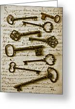 Old Keys On Letter Greeting Card by Garry Gay