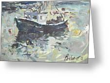 Original Lobster Boat Painting Greeting Card
