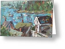 Original Modern Abstract Maine Landscape Painting Greeting Card