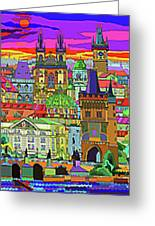 Prague Panorama Old Town Greeting Card by Yuriy  Shevchuk