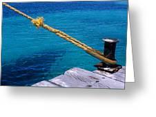 Rope On Mooring Post Greeting Card by Sami Sarkis