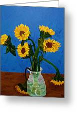 Seven Sunflowers In Vase Greeting Card