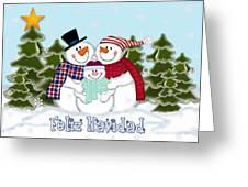 Snowman Family Christmas Card Feliz Navidad Greeting Card For Sale