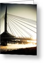 St. Boniface Bridge At Winter Sunrise Greeting Card