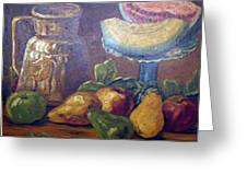Still Life With Pears And Melons Greeting Card