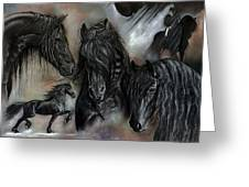 The Friesians In My Head Greeting Card by Caroline Collinson