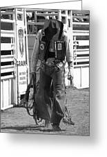 Try Again Cowboy Black And White Greeting Card by Andrea Arnold