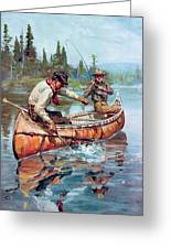 Two Fishermen In Canoe Greeting Card