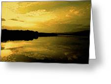 Watery Color Sunset Greeting Card