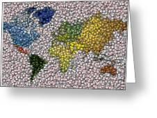 World Map Bottle Cap Mosaic Greeting Card