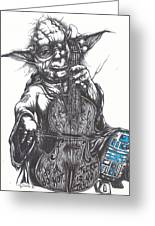 Yoda Soothes Baby R2 With The Charm Of His Homegrown Cello Greeting Card by Tai Taeoalii