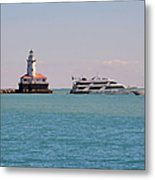 Historical Chicago Harbor Light Metal Print by Christine Till