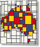 Mondrian Inspired Australia Map Metal Print