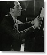 A Portrait Of George Gershwin At A Piano Metal Print