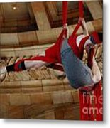 Aerial Ribbon Performer At Pennsylvanian Grand Rotunda Metal Print
