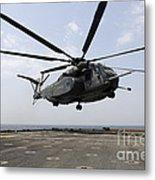 An Mh-53e Sea Dragon Prepares To Land Metal Print