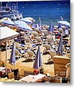 Beach In Cannes Metal Print