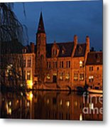 Bruges Rozenhoedkaai Night Scene Metal Print by Kiril Stanchev