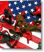 Fallen Toy Soliders On American Flag Metal Print by Amy Cicconi