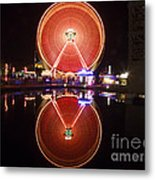 Ferris Wheel Reflections Metal Print by George Oze