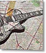 Les Paul On Austin Map Metal Print