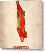 Manhattan Watercolor Map Metal Print by Naxart Studio