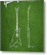 Mccarty Gibson Stringed Instrument Patent Drawing From 1958 - Green Metal Print by Aged Pixel