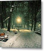 Red Bench In The Park Metal Print by Jaroslaw Grudzinski