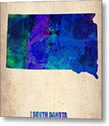 South Carolina Watercolor Map Metal Print by Naxart Studio