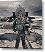 U.s. Air Force Pilot Standing In Front Metal Print