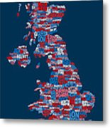 Great Britain Uk City Text Map Metal Print