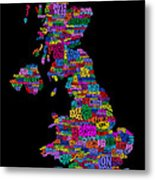 Great Britain Uk City Text Map Metal Print by Michael Tompsett