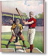 1895 Batter Up At Home Plate Metal Print by Daniel Hagerman